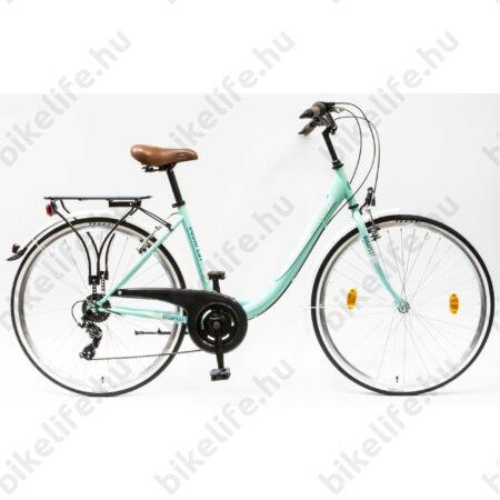 """Csepel Budapest B 28""""-os városi kerékpár 7sebességes láncváltós, türkiz/fehér"""