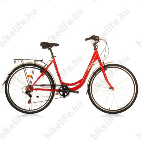 """Hauser Swan 28""""-os városi kerékpár, 6 sebességes, duplafalú abroncs, piros"""