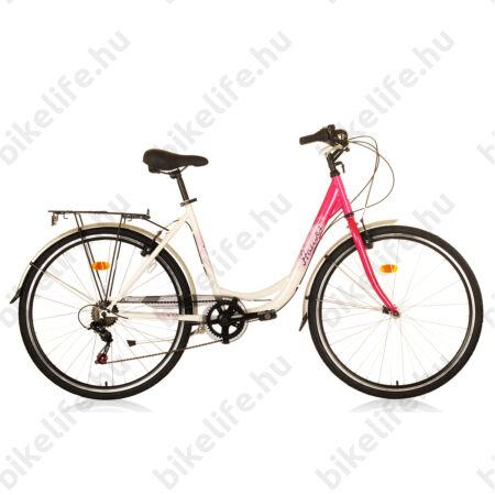 """Hauser Swan 28""""-os városi kerékpár, 6 sebességes, duplafalú abroncs, rózsaszín/fehér"""