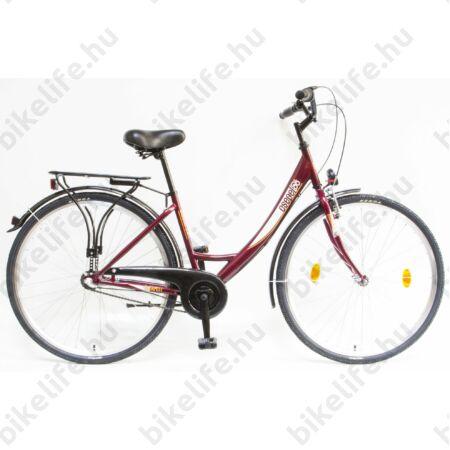 """Csepel Budapest A 28""""-os városi kerékpár Shimano Nexus 3 agyváltó, bordó színű"""