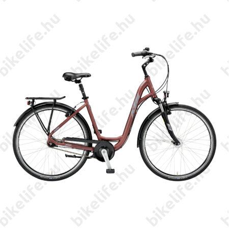 """KTM City Line 7 28""""-os városi kerékpár W-váz 7 fokozatú Shimano Nexus agyváltó és agydinamó, matt bordó 43cm"""