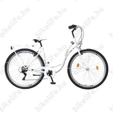 """Neuzer Ravenna 6 28""""-os városi kerékpár 6 fokozatú Shimano váltó, fehér/pink-türkiz"""
