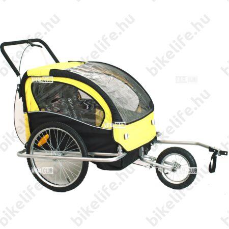 Gyermekutánfutó 2 gyermek szállítására (összsúly: max.40kg) könnyedén le/felszerelhető jogging szett, sárga