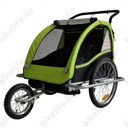 Gyermekutánfutó 2 gyermek szállítására (összsúly: max.40kg) könnyedén le/felszerelhető jogging szett, zöld