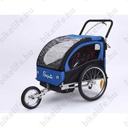 Gyermekutánfutó 2 gyermek szállítására (összsúly: max.40kg) könnyedén le/felszerelhető jogging szett, kék