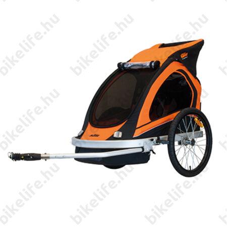 KTM Carry gyermek szállító utánfutó, 2 gyermeknak, 45kg terhelhetőség, időjárás álló boritás