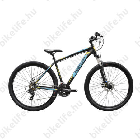 """Neuzer Jumbo Hobby 29""""-os MTB kerékpár 21 fokozatú Shimano TX35 váltó, fekete/türkiz-sárga, 19"""""""