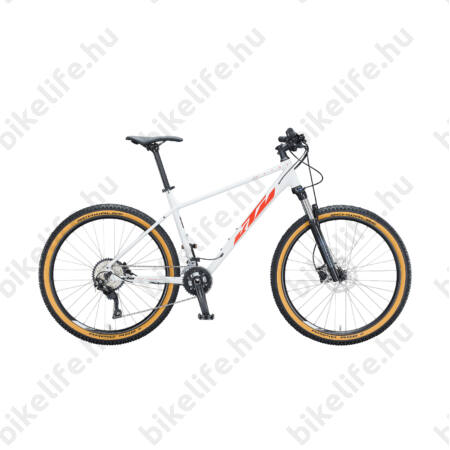 """KTM Ultra Flite 27,5""""-os MTB kerékpár 20 fokozatú Deore váltó, hidr. tárcsafék, fehér (fekete/narancs) 17"""""""