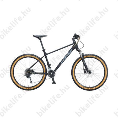 """KTM Ultra Fun 27,5""""-os MTB kerékpár 18 fokozatú Shimano Deore váltó, hidraulikus tárcsafék, mattfekete (szürke/arany) 19"""""""