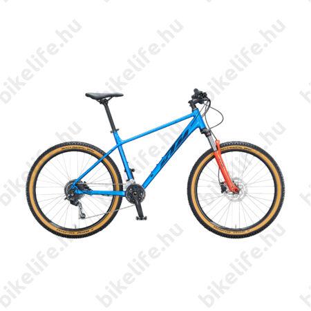 """KTM Ultra Fun 27,5""""-os MTB kerékpár 18 fokozatú Shimano Deore váltó, hidraulikus tárcsafék, fényes kék/narancs 17"""""""