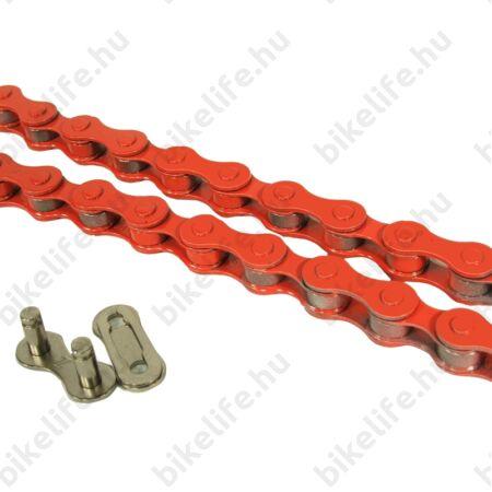 """KMC Z410 lánc+patentszem 1 sebességes kerékpárhoz 1/2""""x1/8"""", piros"""