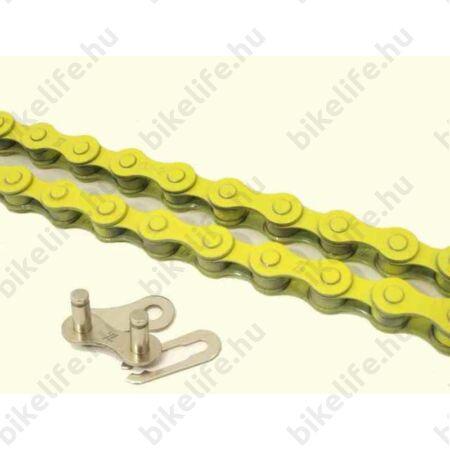 """KMC Z410 lánc+patentszem 1 sebességes kerékpárhoz 1/2""""x1/8"""", sárga"""