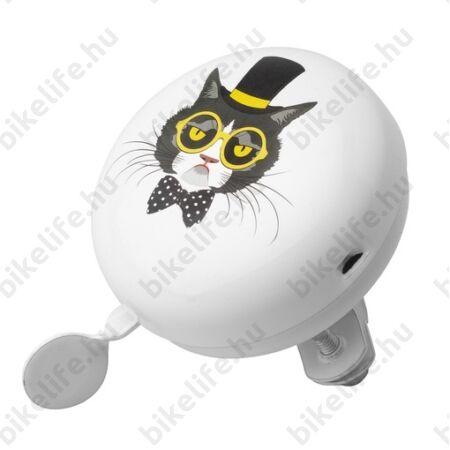 Cartoon bicikli csengő Mr. Cat fehér, festett acél