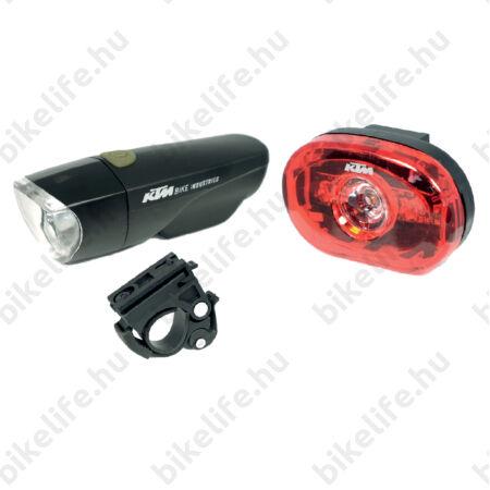 KTM Lightset lámpakészlet LED-es, 1 Watt + 0,5 Watt, fekete, elemes