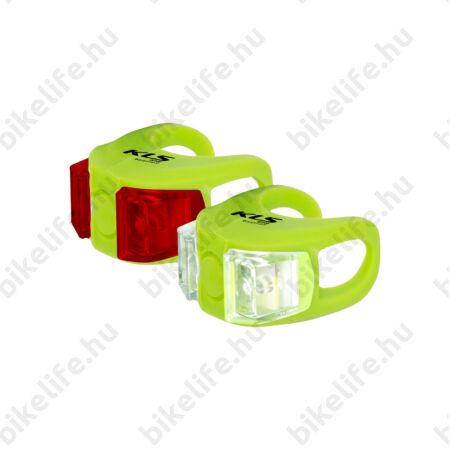Kellys KLS Twins első+hátsó elemes villogó készlet, elemes, lime zöld szín