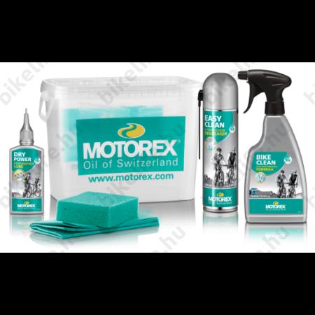 Motorex lánc és kerékpár tisztító, karbantartó készlet mosóvödörrel és szivacsal