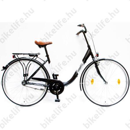 """Csepel Budapest B 28""""-os városi kerékpár kontrás, fekete/fehér matt"""