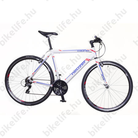 Neuzer Courier fitness kerékpár 21 fokozatú Shimano Acera váltórendszer, fehér/kék-piros 56cm