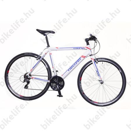 Neuzer Courier fitness kerékpár 21 fokozatú Shimano Acera váltórendszer, fehér/kék-piros 58cm