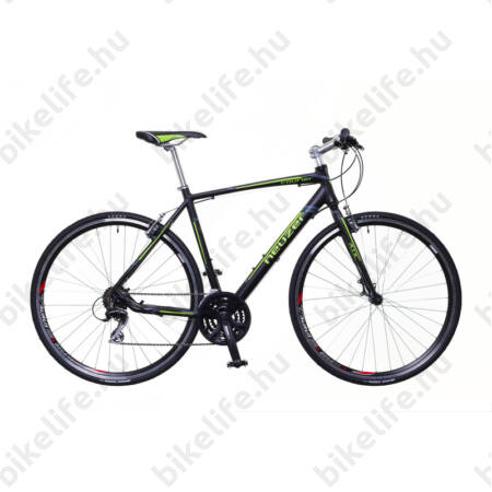 Neuzer Courier fitness kerékpár 21 fokozatú Shimano Acera váltórendszer, fekete/zöld-szürke matt 46cm