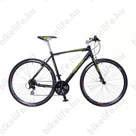 Neuzer Courier fitness kerékpár 21 fokozatú Shimano Acera váltórendszer, fekete/zöld-szürke matt 50cm