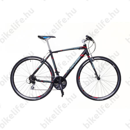 Neuzer Courier fitness kerékpár 21 fokozatú Shimano Acera váltórendszer, fekete/türkiz-piros matt 53cm