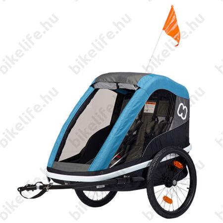 Hamax Avenida Twin gyermek szállító utánfutó, 2gyermeknek, 45kg terhelhetőség, időjárás álló boritás, szürke/kék