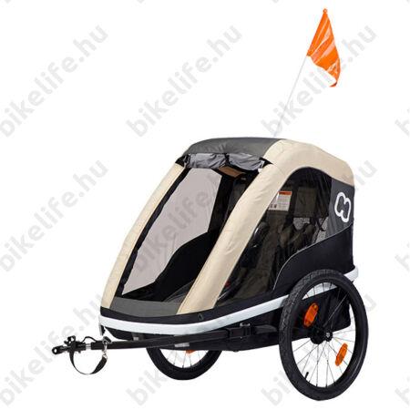 Hamax Avenida Twin gyermek szállító utánfutó, 2gyermeknek, 45kg terhelhetőség, időjárás álló boritás, szürke/kávé