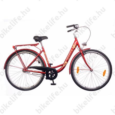 """Neuzer Balaton 28""""-os városi kerékpár kontrás bordó virág mintás"""