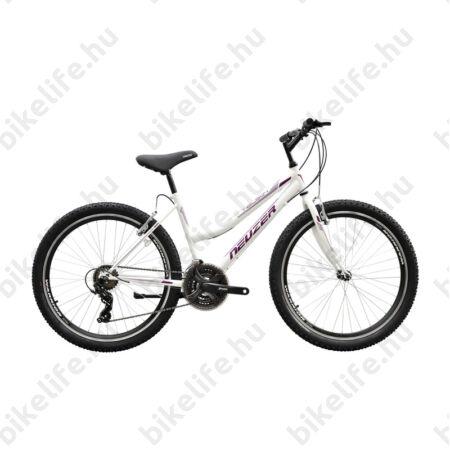 """Neuzer Nelson 50 női MTB kerékpár 21 sebességes, duplafalú kerekek, fehér/bíbor-mályva 19"""""""